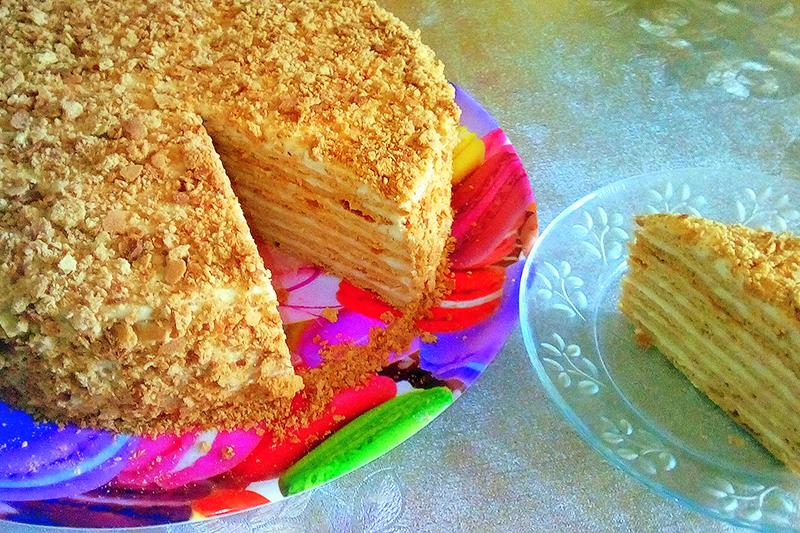 Домашний торт медовик с заварным кремом