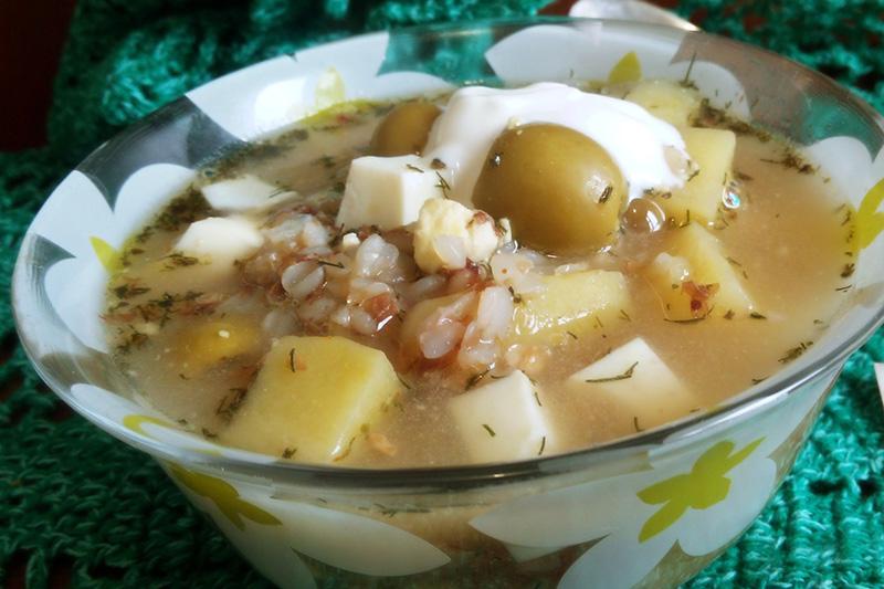 Гречневый суп без мяса