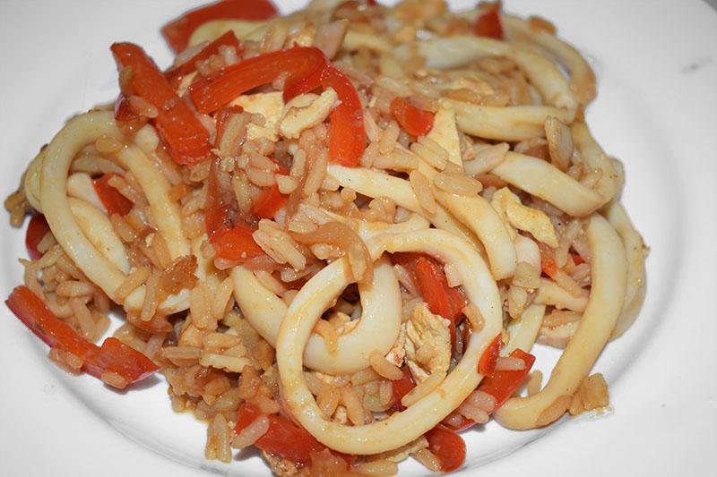 Кальмар с рисом по-китайски