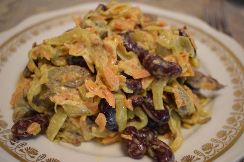 Салат с говяжьим сердцем и красной фасолью